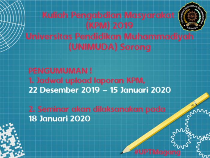 Jadwal Upload Laporan dan Seminar KPM 2019