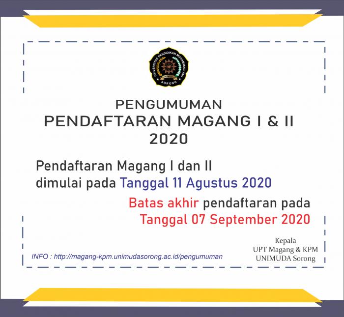 Pendaftaran Magang I dan Magang II Tahun Akademik 2019/2020